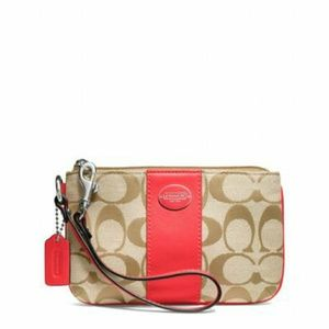 Coach Red Legacy Signature Small Wristlet